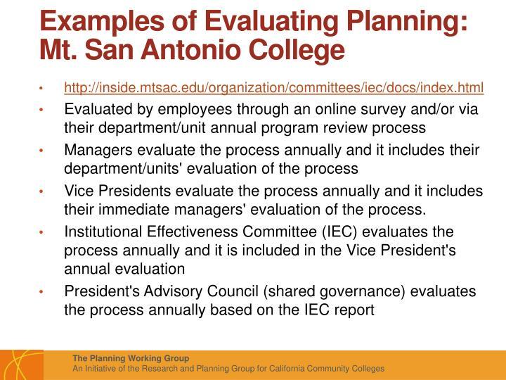 Examples of Evaluating Planning: Mt. San Antonio College