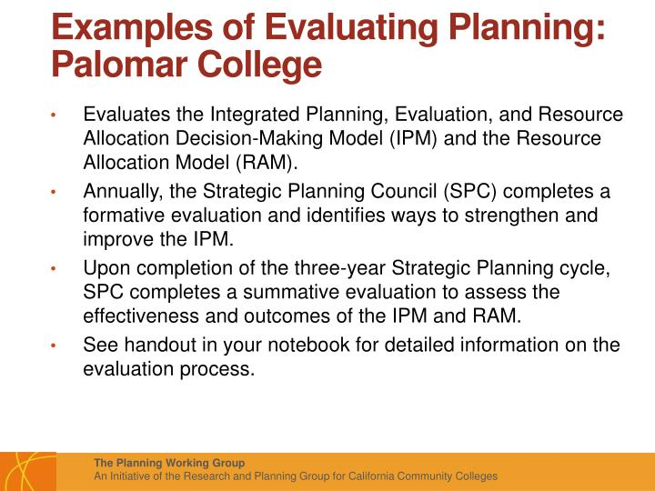 Examples of Evaluating Planning: Palomar College
