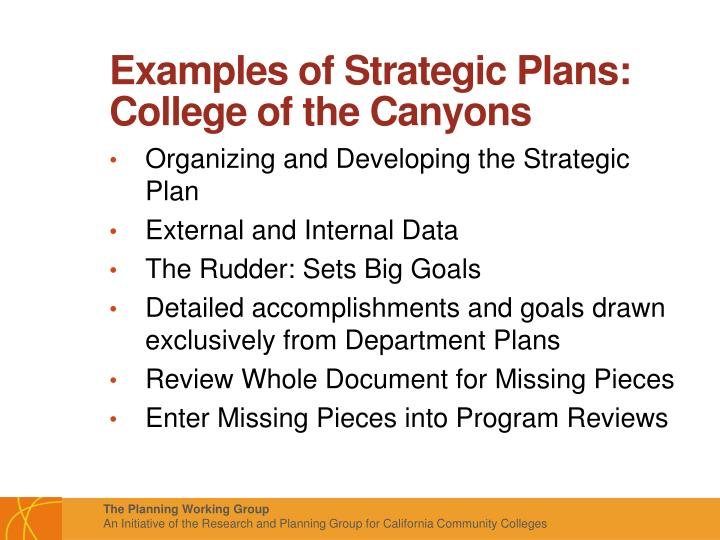 Examples of Strategic Plans: College of the Canyons