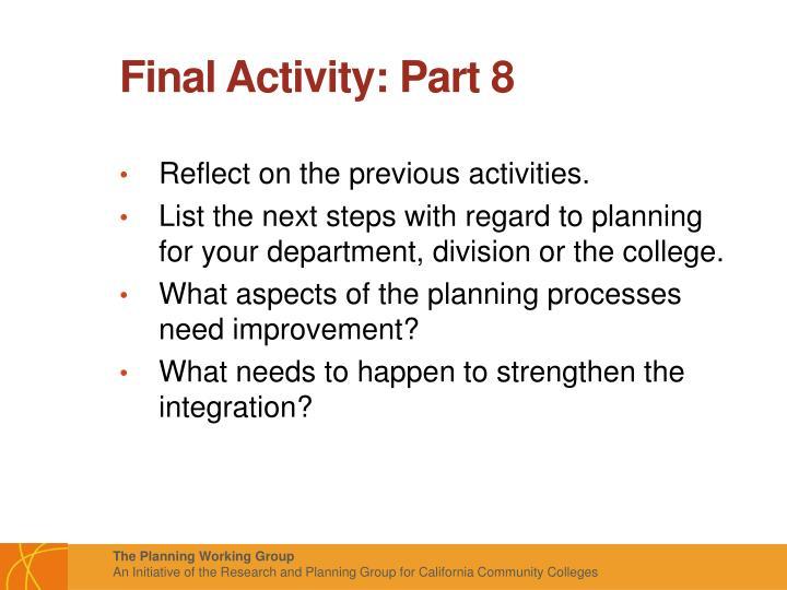 Final Activity: Part 8