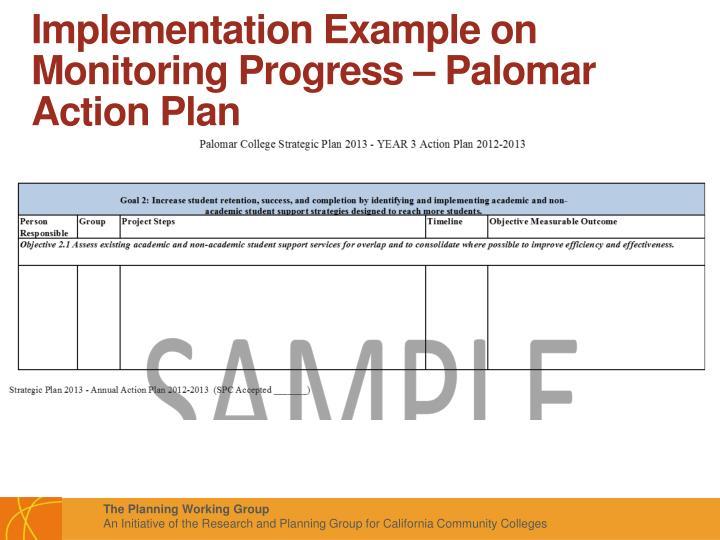 Implementation Example on Monitoring Progress – Palomar Action Plan