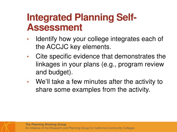 Integrated Planning Self-Assessment