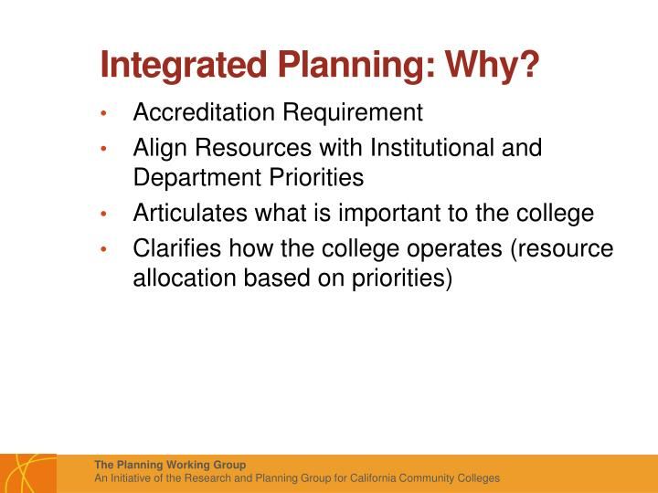 Integrated Planning: Why?