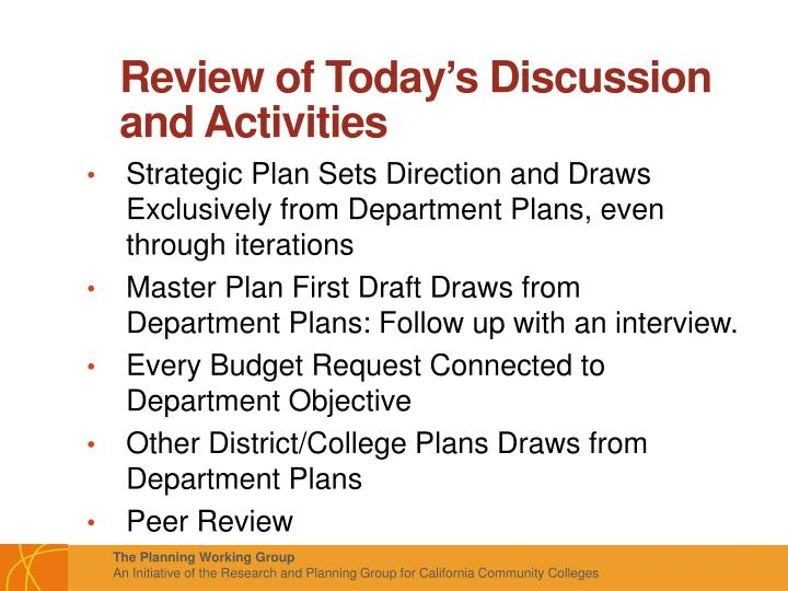 Review of Today's Discussion and Activities