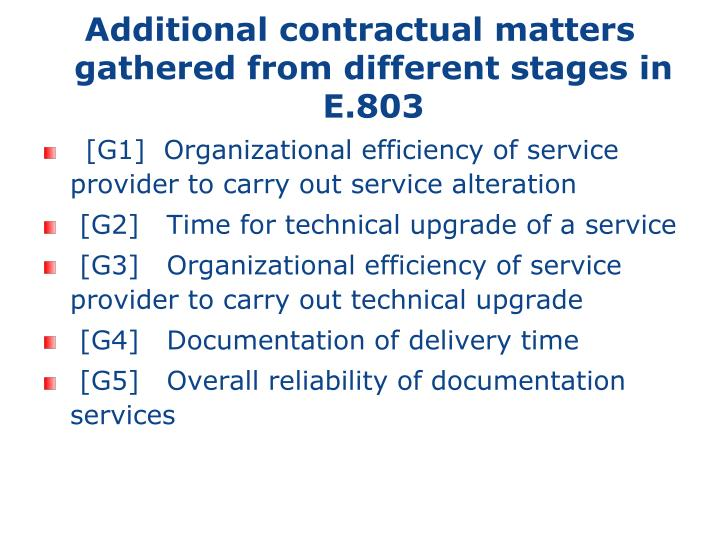 Additional contractual matters gathered from different stages in E.803