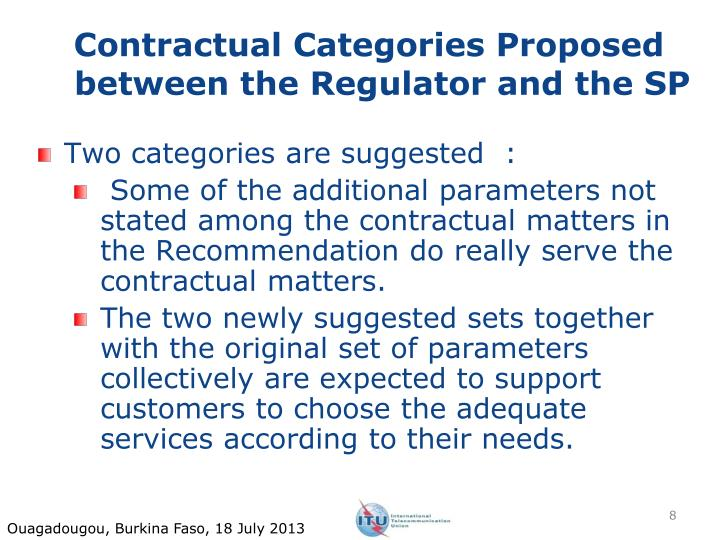 Contractual Categories Proposed between the Regulator and the SP