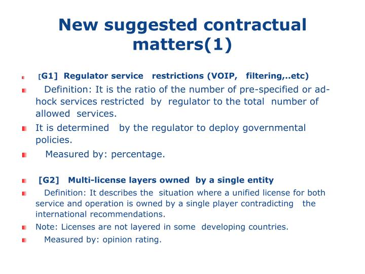 New suggested contractual matters(1)