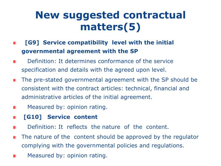 New suggested contractual matters(5)
