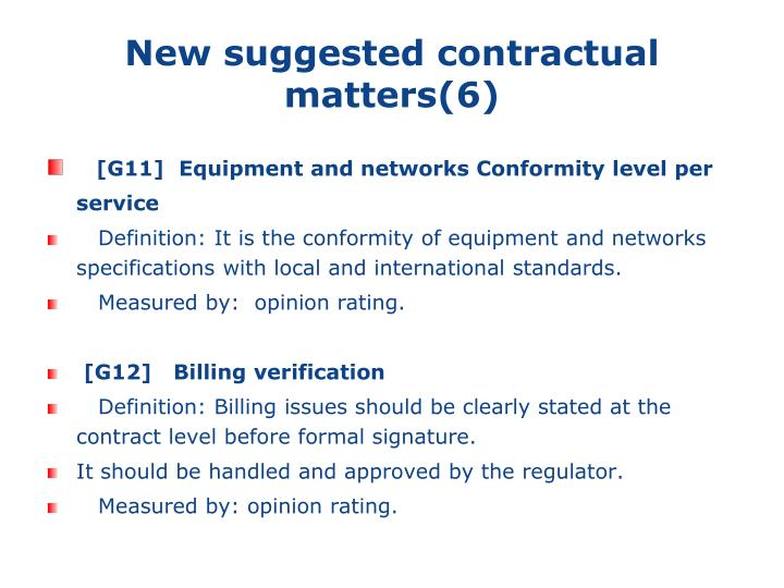 New suggested contractual matters(6)