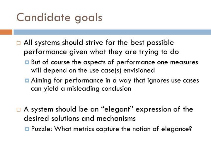 Candidate goals