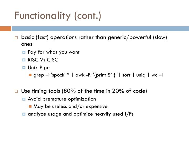 Functionality (cont.)