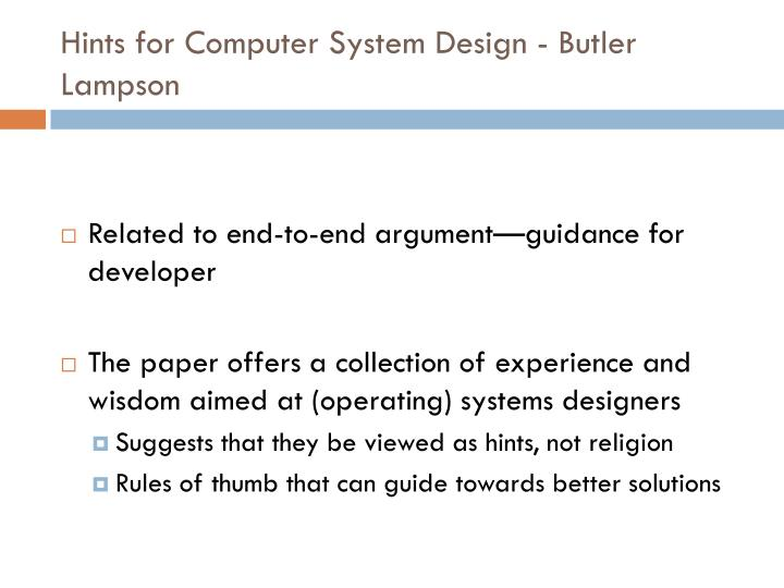 Hints for Computer System Design -