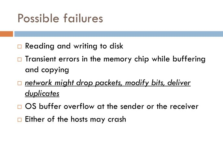 Possible failures