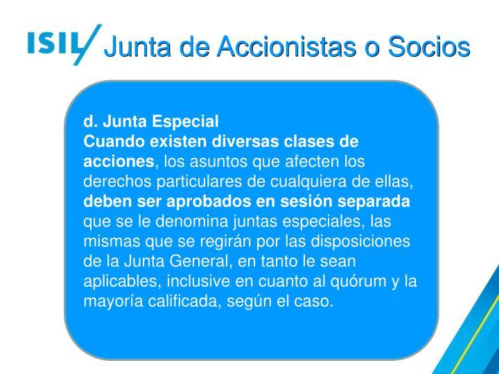 Junta de Accionistas o Socios