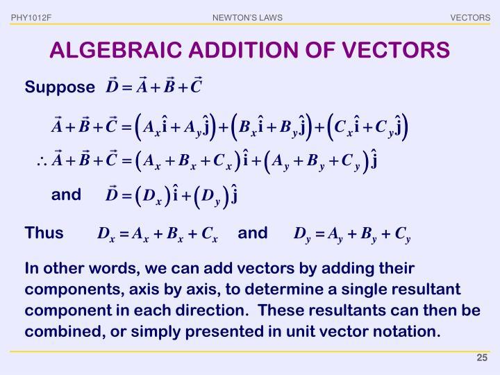 ALGEBRAIC ADDITION OF VECTORS