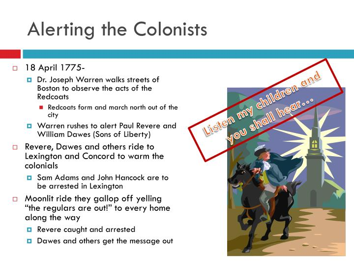 Alerting the Colonists