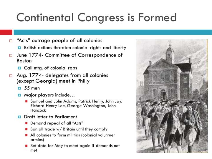Continental congress is formed