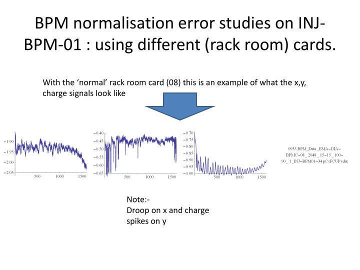BPM normalisation error studies on INJ-BPM-01 : using different (rack room) cards.