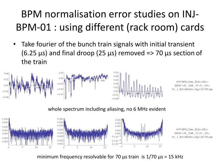 BPM normalisation error studies on INJ-BPM-01 : using different (rack room) cards