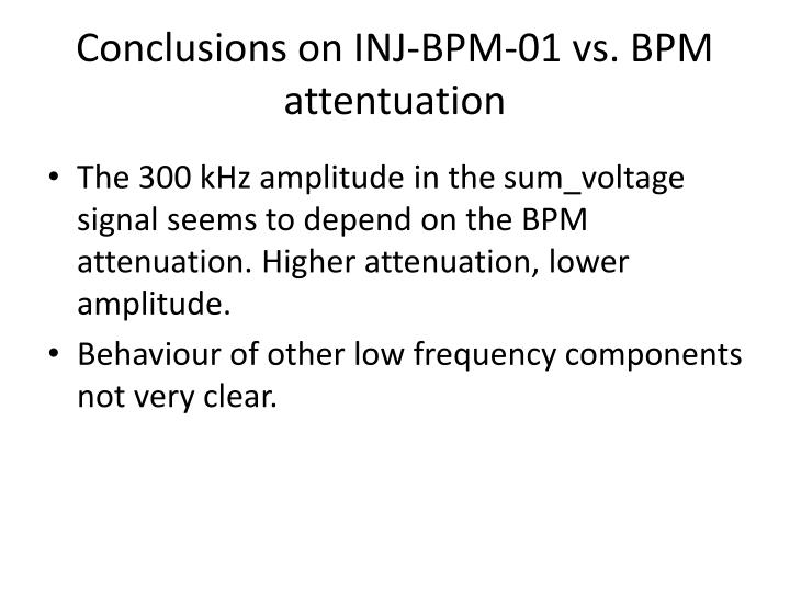 Conclusions on INJ-BPM-01 vs. BPM