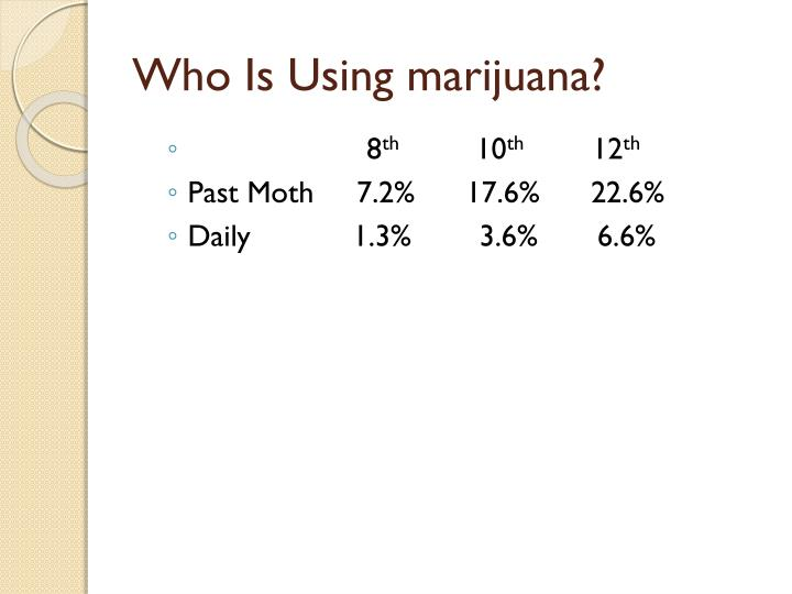 Who Is Using marijuana?