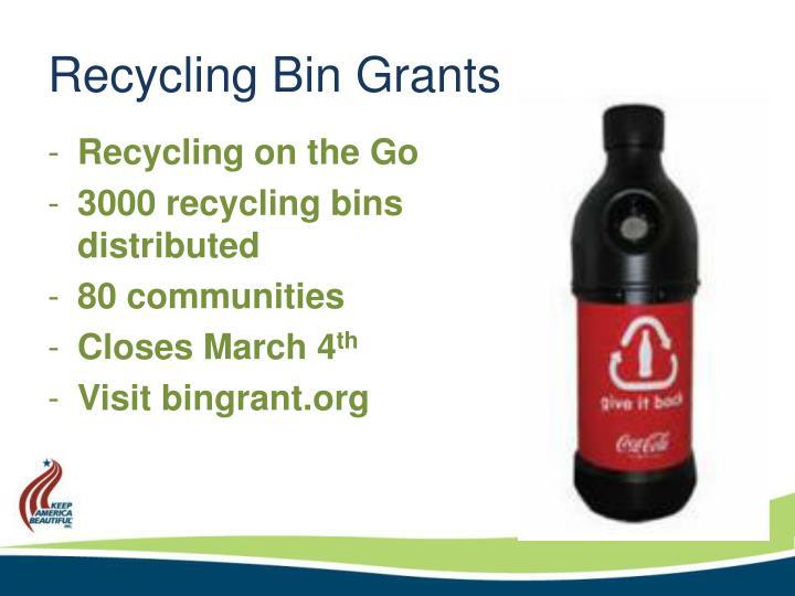 Recycling Bin Grants