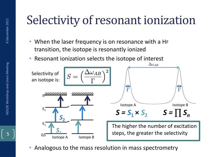 Selectivity of resonant ionization
