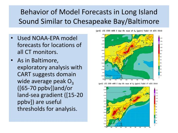 Behavior of Model Forecasts in Long Island Sound Similar to Chesapeake Bay/Baltimore
