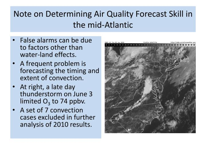 Note on Determining Air Quality Forecast Skill in the mid-Atlantic