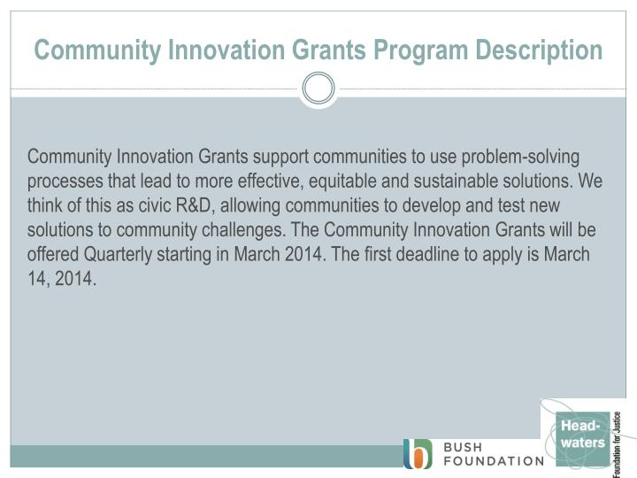 Community Innovation Grants Program Description