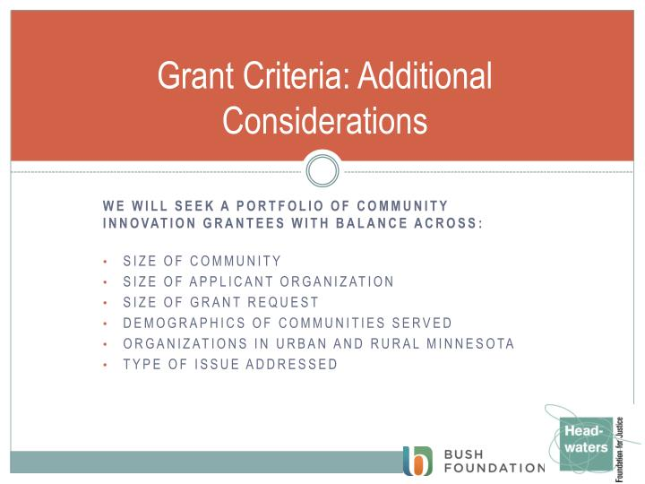 Grant Criteria: Additional Considerations
