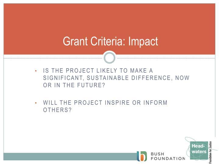 Grant Criteria