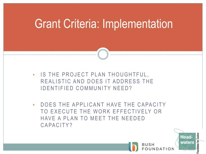 Grant Criteria: Implementation