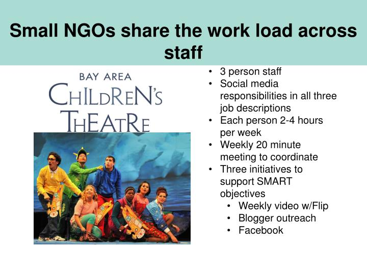 Small NGOs share the work load across staff