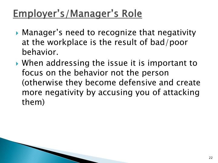 Employer's/Manager's Role