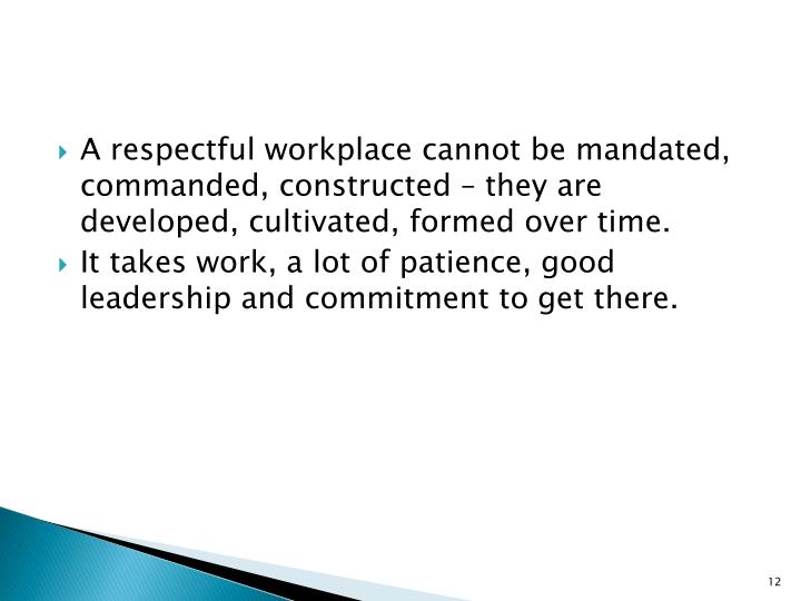 A respectful workplace cannot be mandated, commanded, constructed – they are developed, cultivated, formed over time.