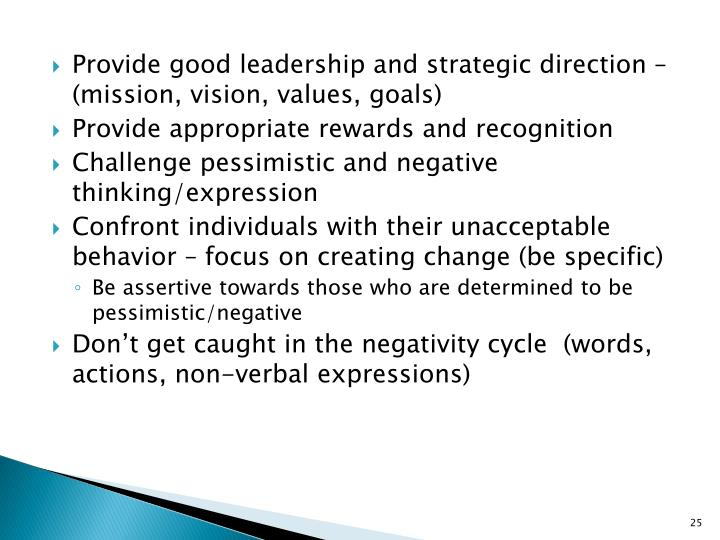 Provide good leadership and strategic direction – (mission, vision, values, goals)