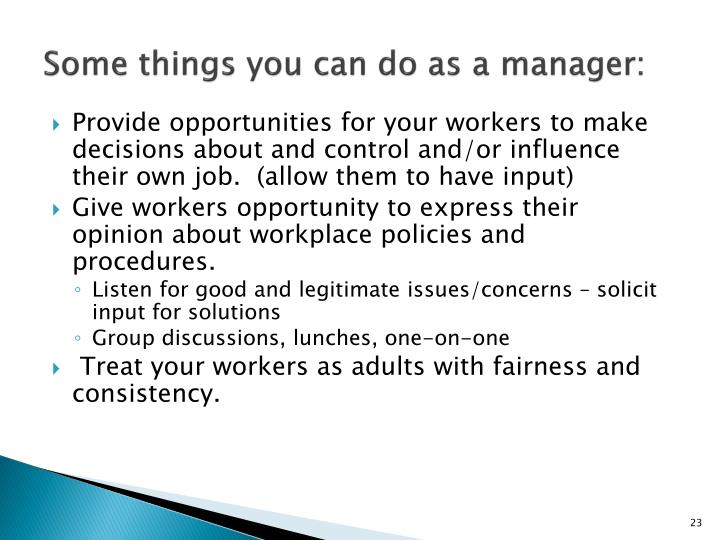Some things you can do as a manager: