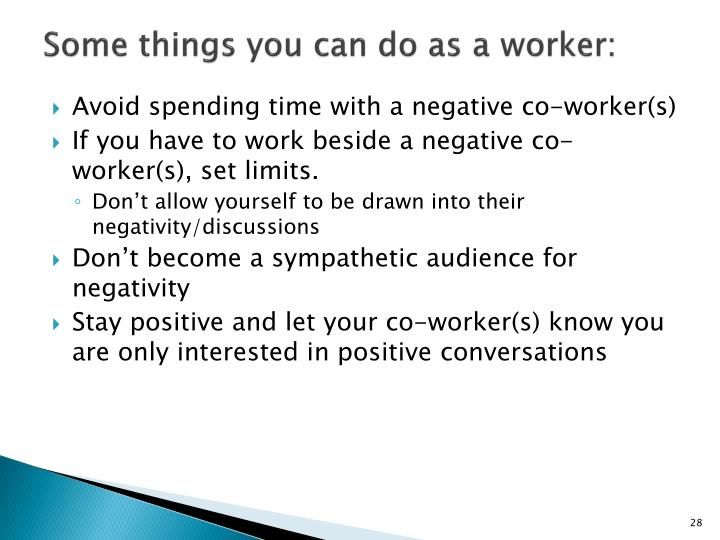 Some things you can do as a worker: