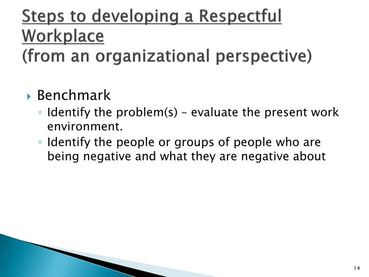 Steps to developing a Respectful