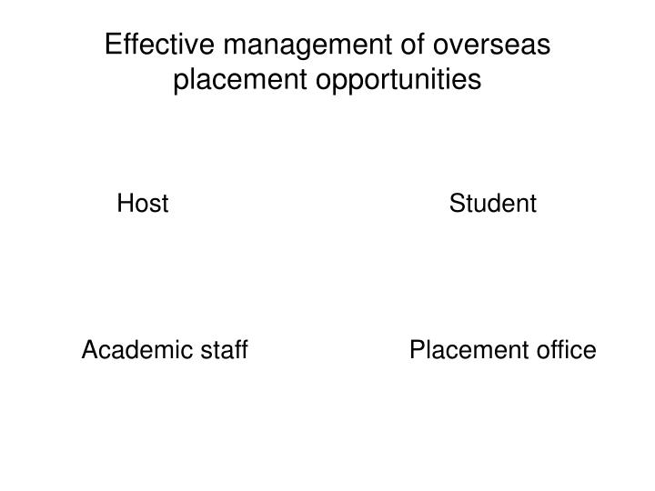 Effective management of overseas placement opportunities