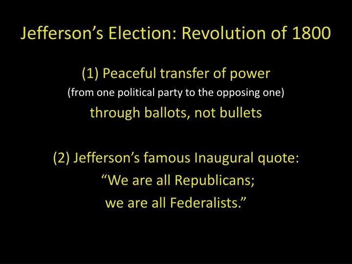 Jefferson's Election: Revolution of 1800
