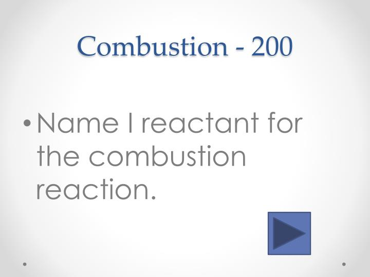 Combustion -