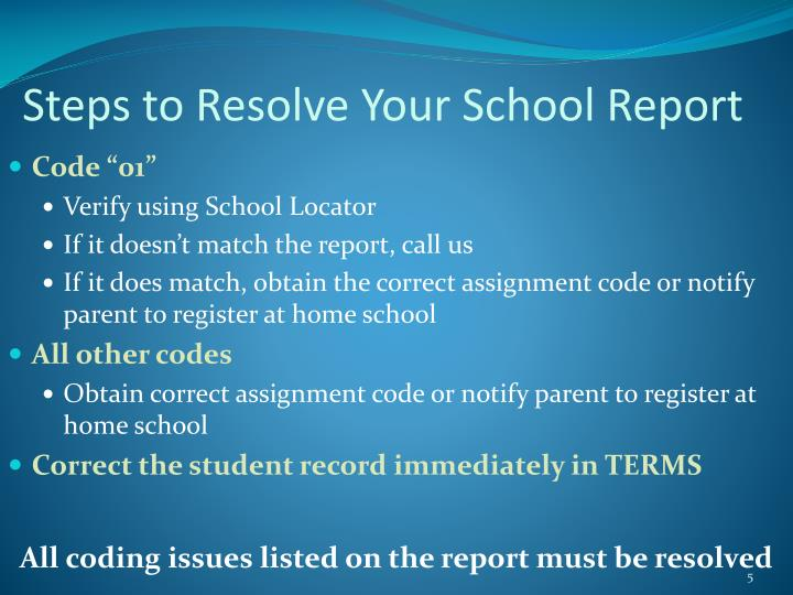 Steps to Resolve Your School Report