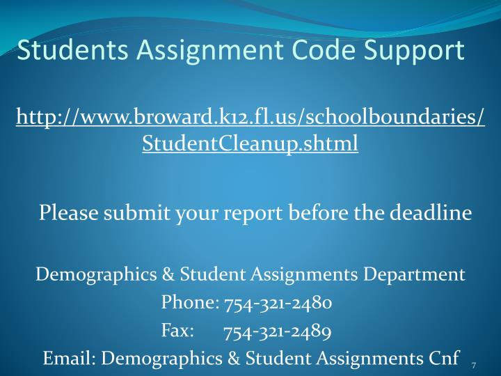 Students Assignment Code Support