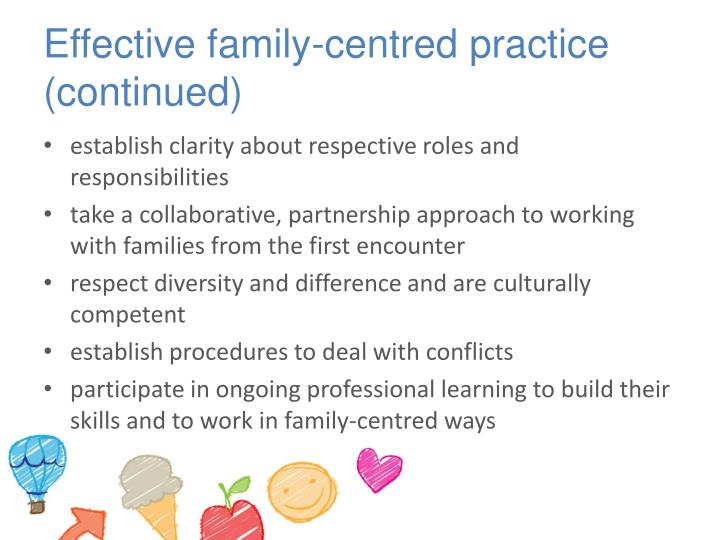 Effective family-centred practice (continued)