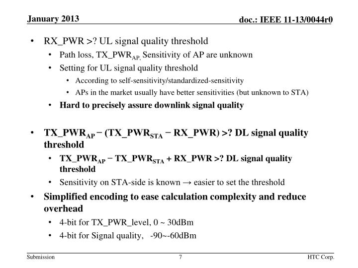 RX_PWR >? UL signal quality threshold