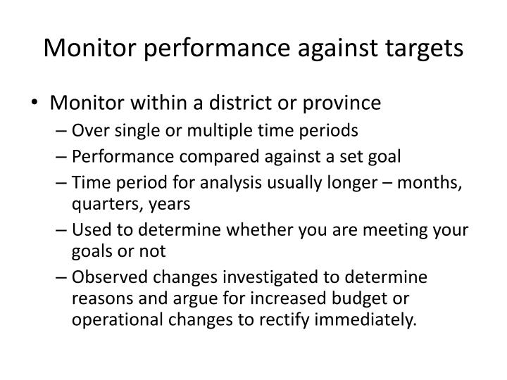 Monitor performance against targets