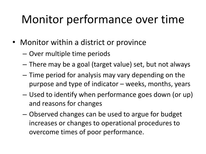Monitor performance over time