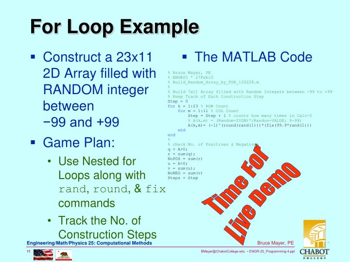 For Loop Example